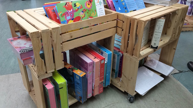 upcycling wood crates book storage home idea for kids