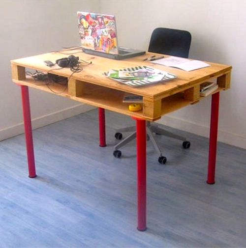 homemade work desk diy pallet table red wooden legs colourful laptop headphones office chair