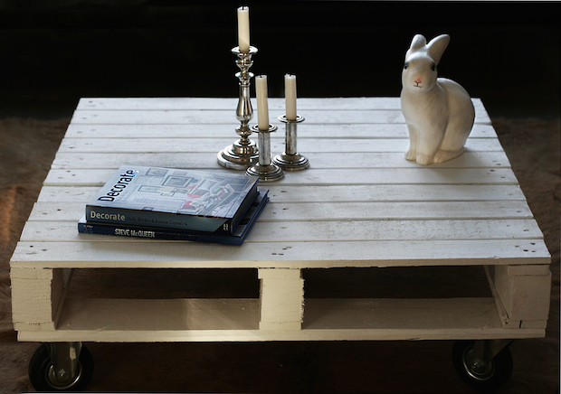 pallet coffee table diy creative project upcycled wood pallet idea candlestick rabbit decorating magazines