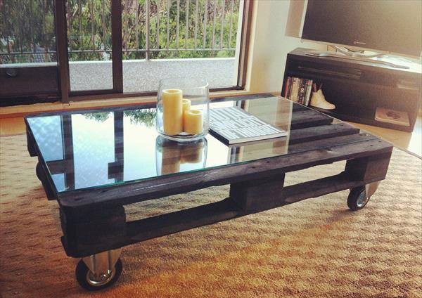 upcycling pallet table project for coffee glass top table design candlesticks jar terrace carpet