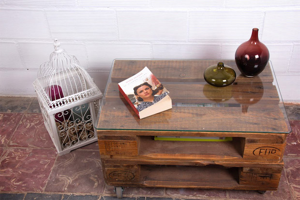 wooden pallet creative bedside table glass top bird cage book