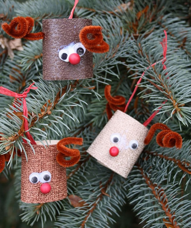 christmas crafts for kids repurpose toilet paper rolls homemade deer tree ornaments decorating ideas - Easy Paper Christmas Decorations