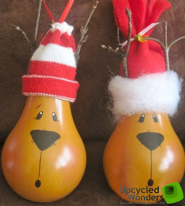 christmas decorating ideas old bulbs rudolf reindeer project for kids xmas tree ornaments