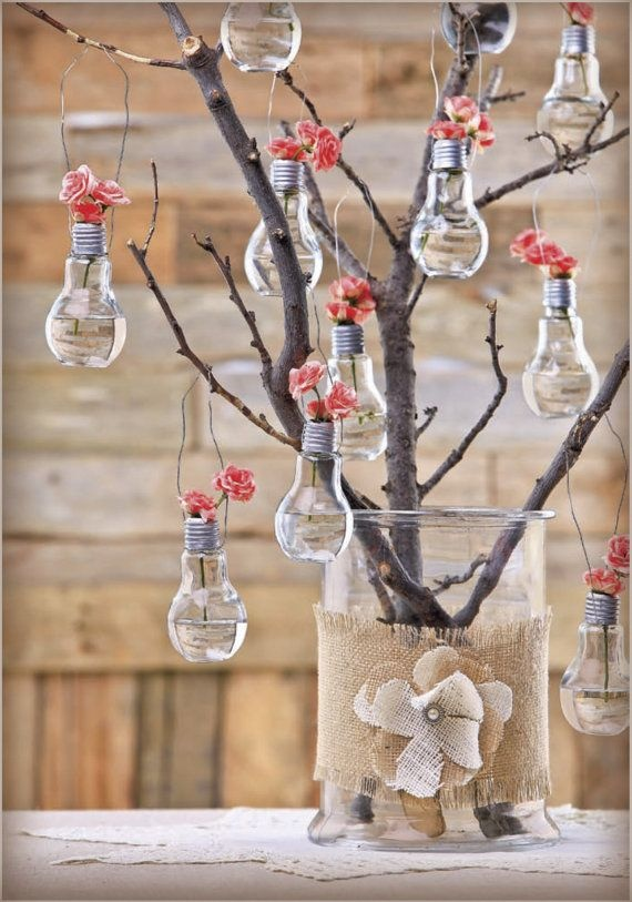 alternative christmas tree from old bulbs with flower decoration upcycled handmade creative idea