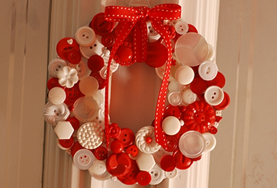 christmas door decoration sewing buttons creative design wreath