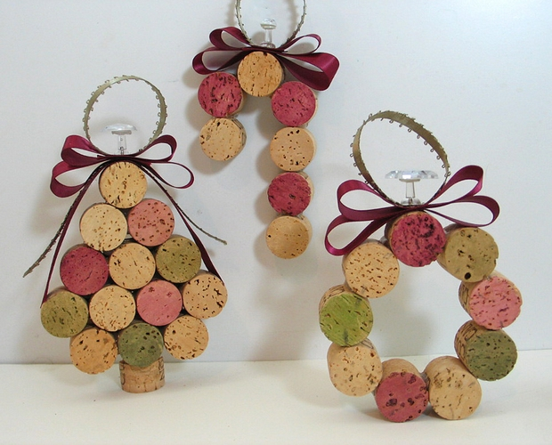 crafts for christmas tree ornaments wine corks with ribbons diy creative decoration ideas