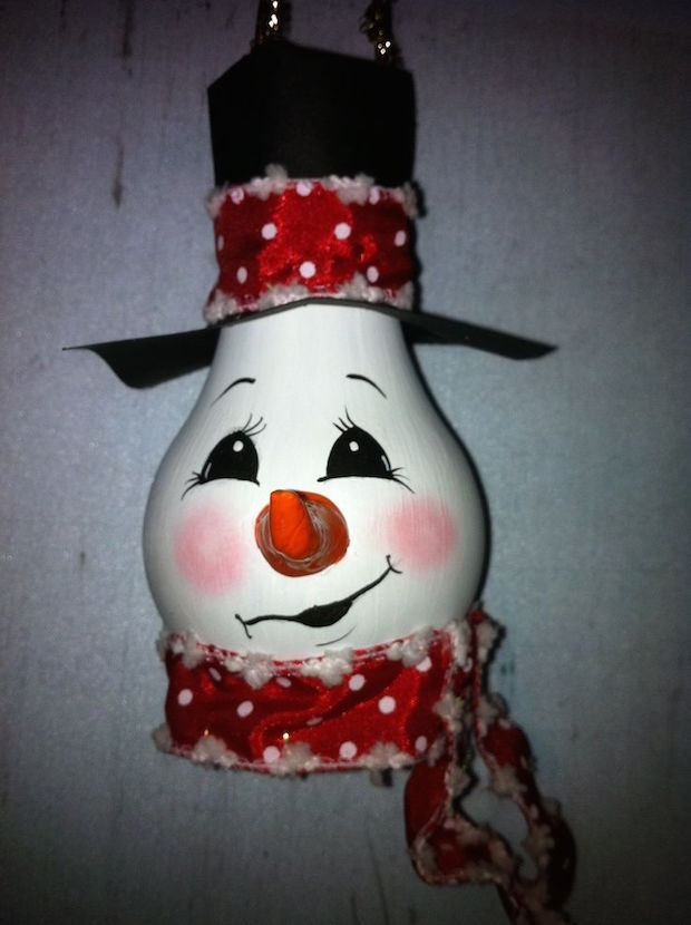 smiling snowman bulb christmas tree ornaments for kids