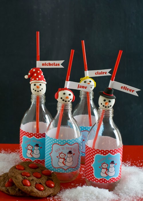 snowman party diy crafts printable sticker labels for used glass bottles and red straws