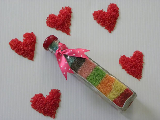 handmade st valentines day idea for her coloured rice hearts