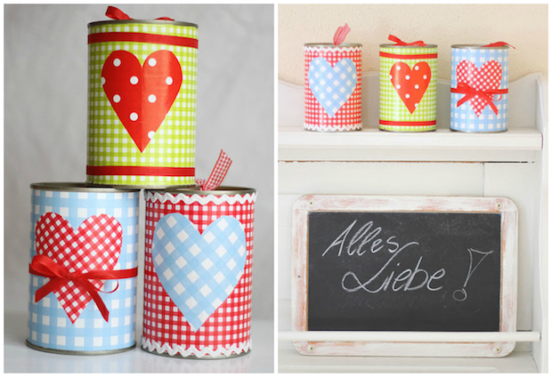 upcycling old tin cans decorated romantic gifts for loved one