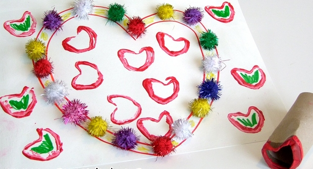 valentine's day crafts for kids handmade love heart stamps from empty toilet paper roll creative idea