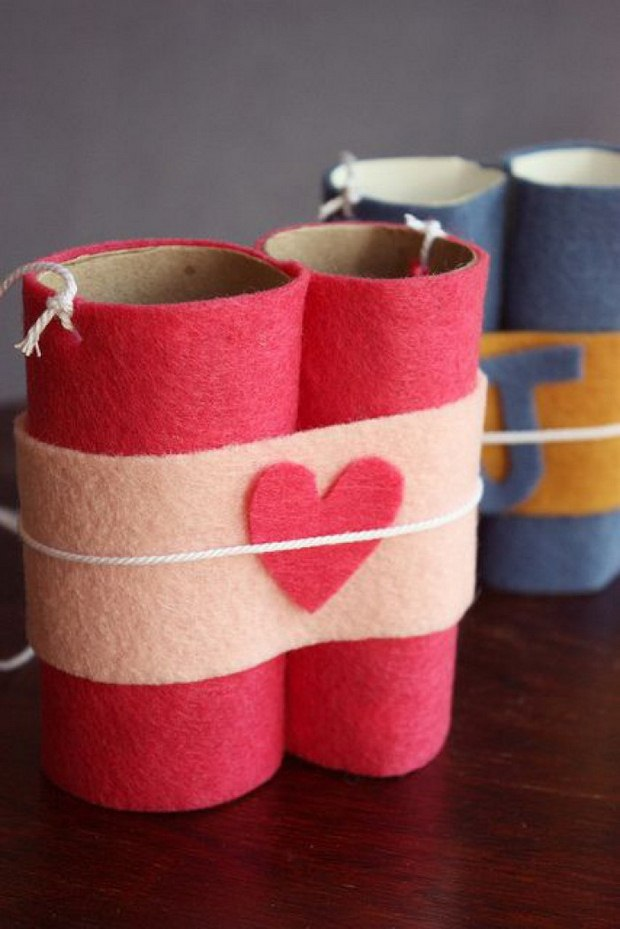 valentines day crafts for kids toilet paper rolls binoculars red heart decoration