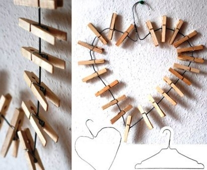 valentines day decorations diy heart shaped wooden clothes clips wall hanging decor ideas