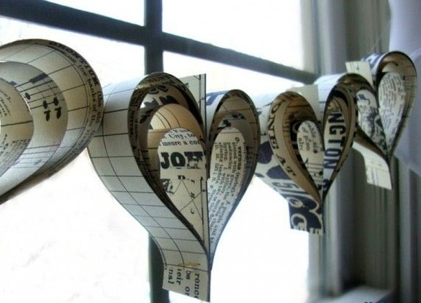 valentines day decorations heart shape paper cutout music notes paper hanging garland decorating ideas