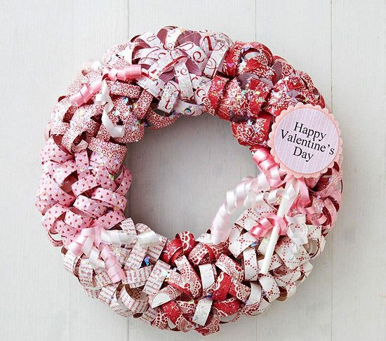 valentines day diy decorations reused gift paper door wreath decor idea
