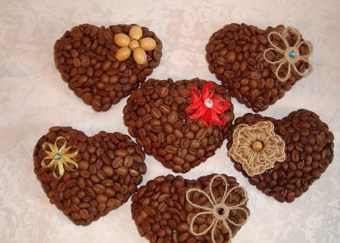 valentines day roasted coffee beans in heart shaped creative diy decoration