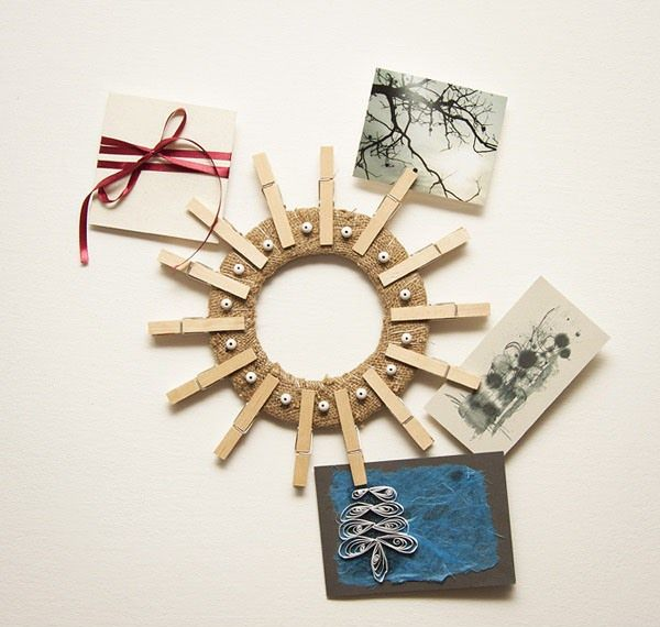 clothespin art diy wreath wall holder greeting card ideas