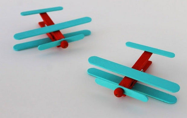 clothespin crafts for kids ideas upcycling ice cream stick coloured plane project