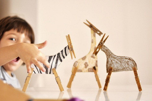 clothespin crafts idea for fun safari with handmade zebra african diy animals