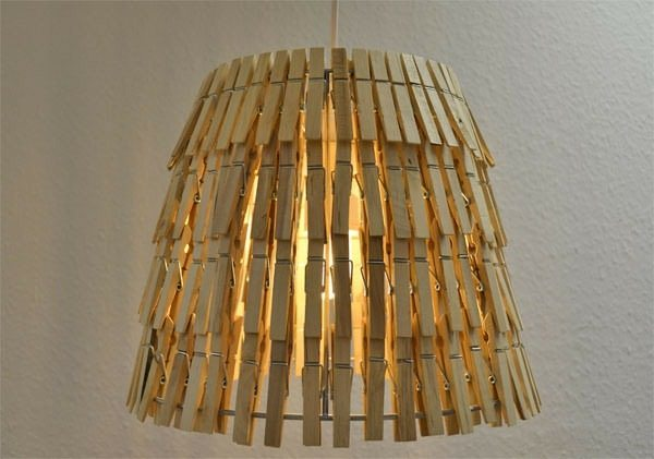reused old clothespin indoor art diy lamp decoration