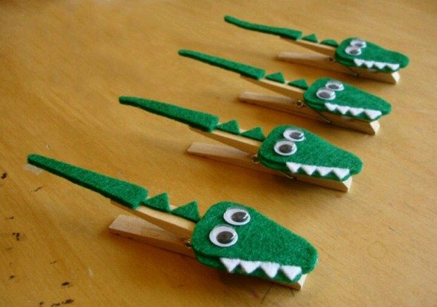cute diy clothespin crafts for kids crocodile wooden floor decoration