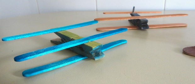 clothespin plane made from ice cream sticks recycling children project