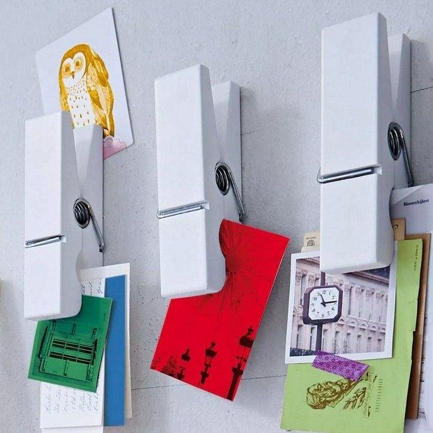 wall memo holder reused clothespins crafts decoration