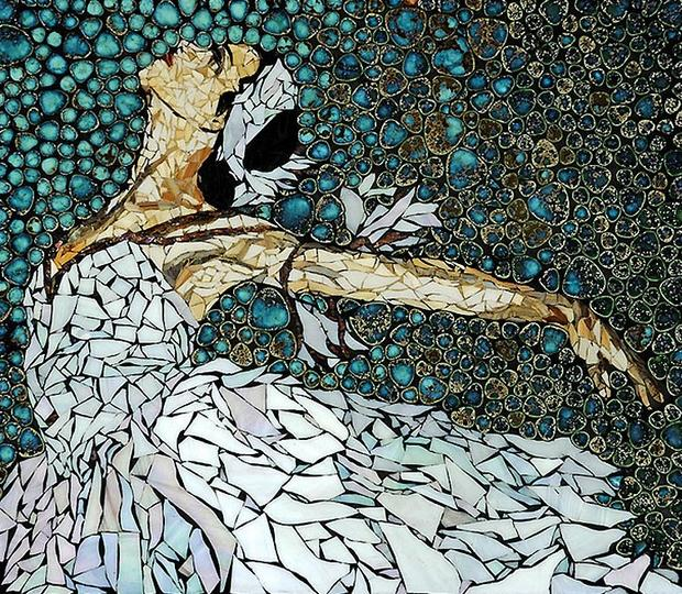 reuse egg shell mosaic art ballet dancer creative painting