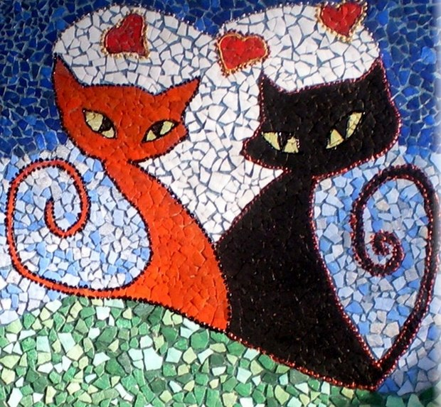 reuse egg shell mosaic art easter cats decor unique painting