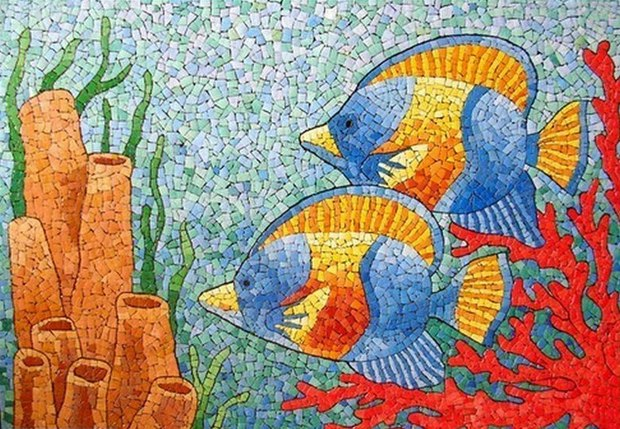 reuse egg shells mosaic art painting sea and fish decoration