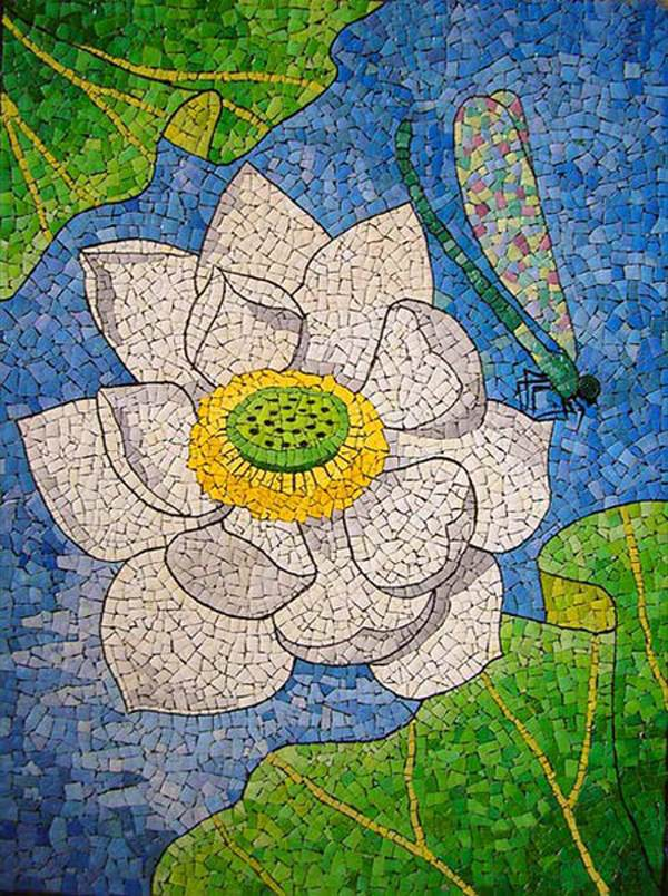 reuse egg shells mosaic art painting with flowers for easter
