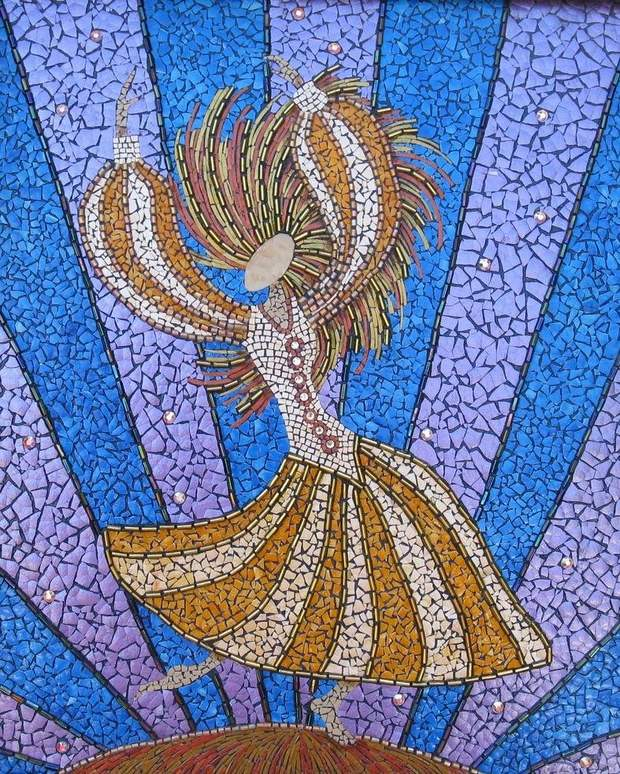 reuse eggshell mosaic art ballerina diy painting