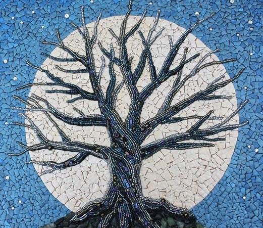 reuse eggshell mosaic art moon blue sky tree creative upcycling ideas