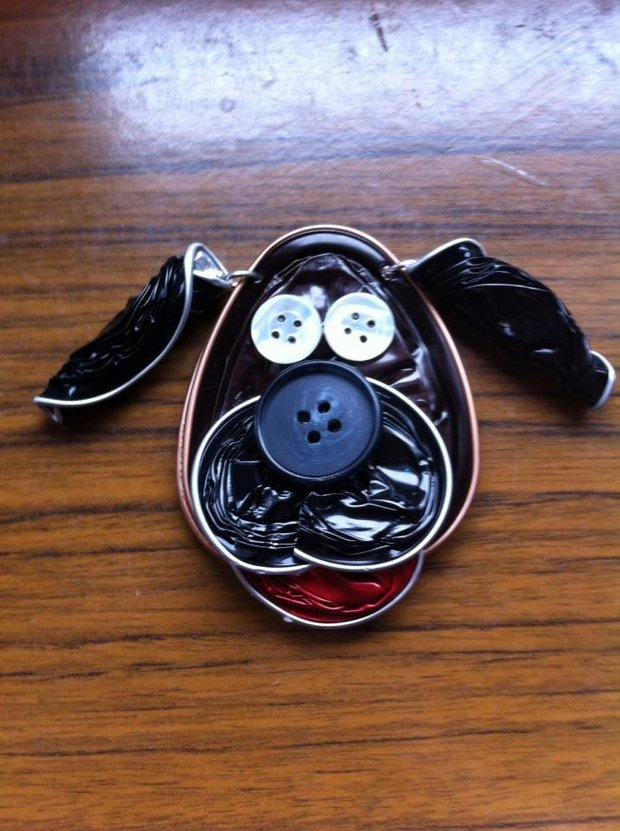 reusing nespresso capsules diy dog shaped craft idea with clothing buttons