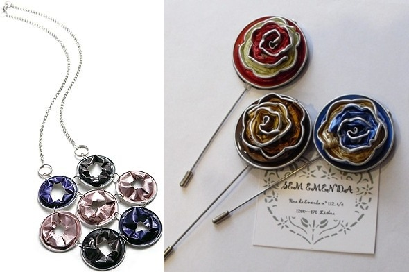 reusing nespresso capsules into necklaces brooch hair accessories