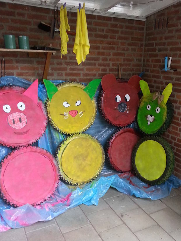 diy upcycling animal tires rubbit tire bear reused tire idea cute old tires idea warning drivers for kids project