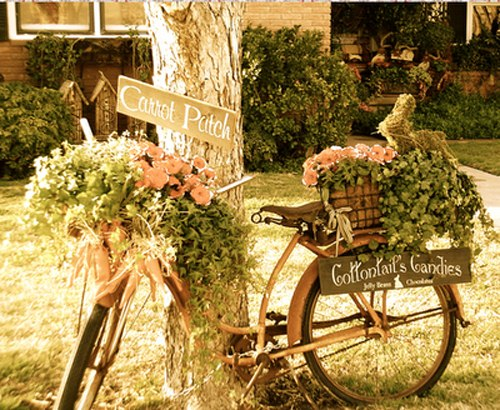old bicycle used for garden flower planter decoration ideas