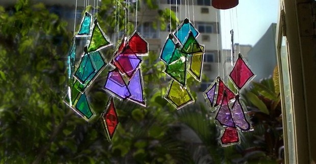 repurposed wind chime garden crafts from unused glass pieces painted in different colors