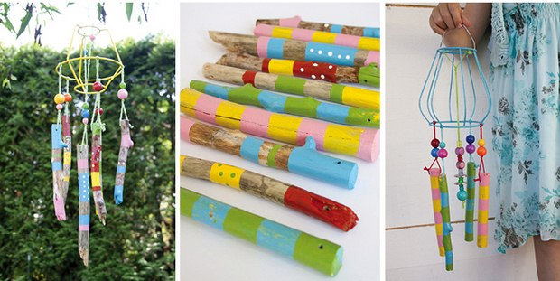 upcycle unused wooden hand painted sticks into wind chime outdoor decoration