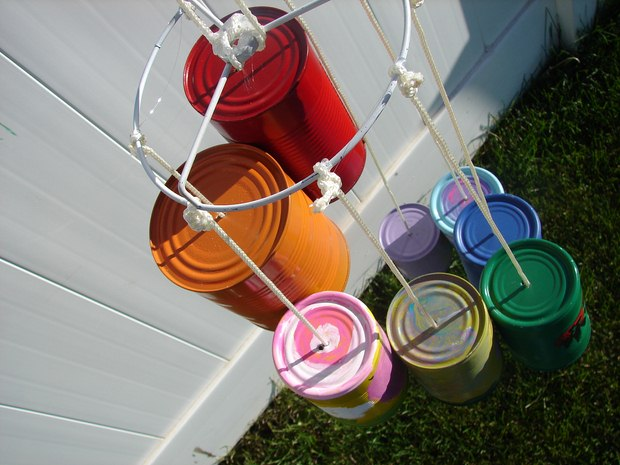 wind chime crafts made of used empty paint box painted diffrerent in colors