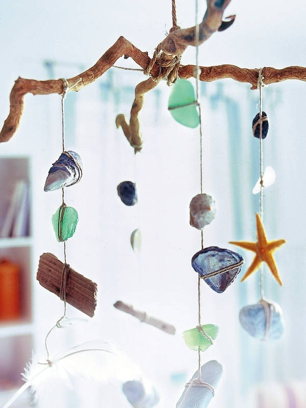 wind chime crafts sea glass summer project with starfish stones seashells and corals decorative ideas