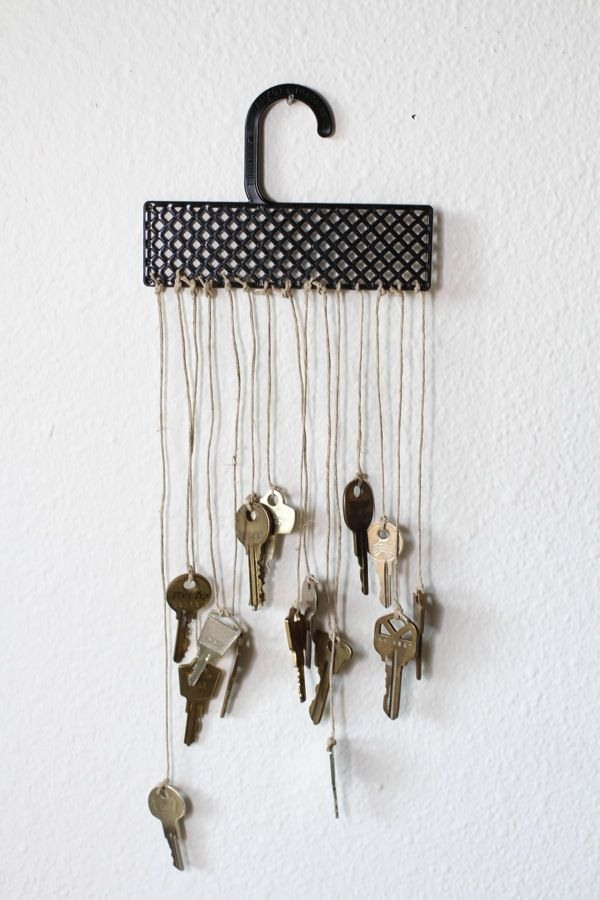 wind chime crafts upcycling idea from unused metal keys hanging on wall