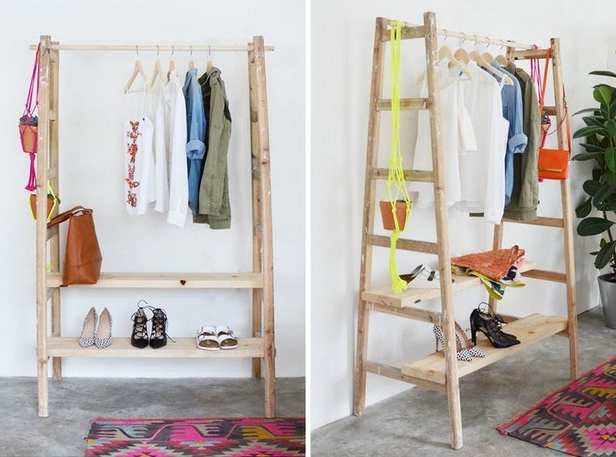 diy upcycled ladder shelves clothes rack handmade wardrobe decorating ideas