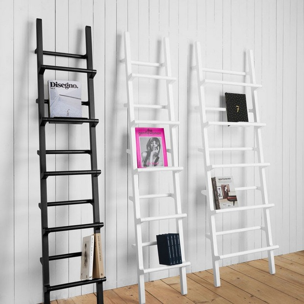 reused old black and white ladder bookshelves as art interior wall decoration