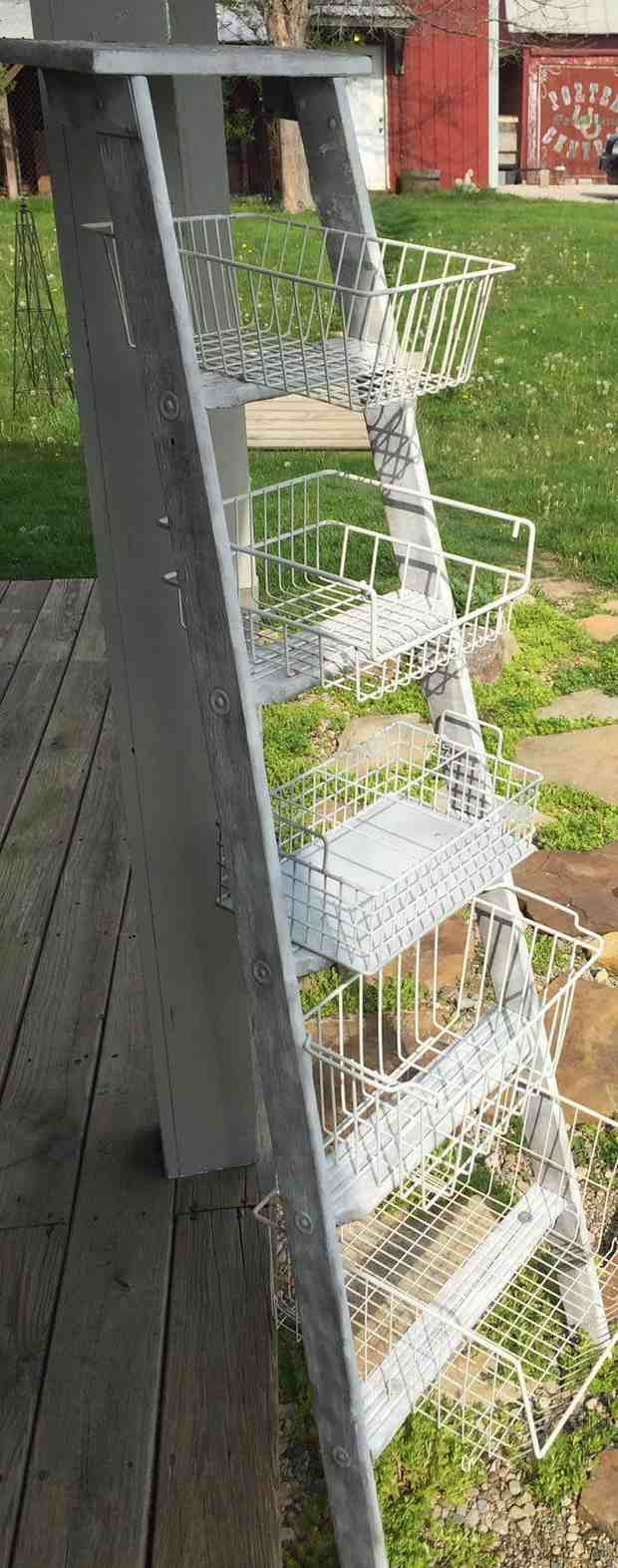 upcycled ladder shelves creative garden diy patio project idea