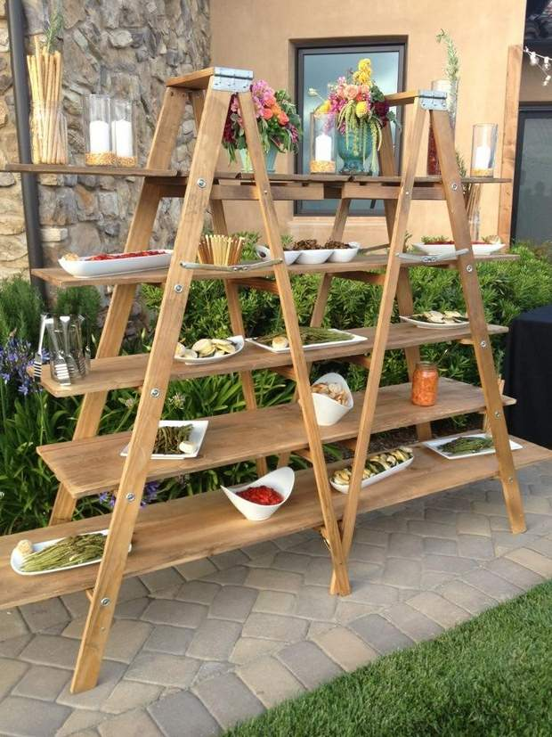 upcycled ladder shelves creative food display for garden decoration