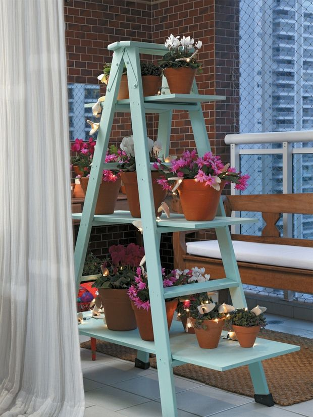 upcycled ladder shelves diy plant stands exterior decorating ideas