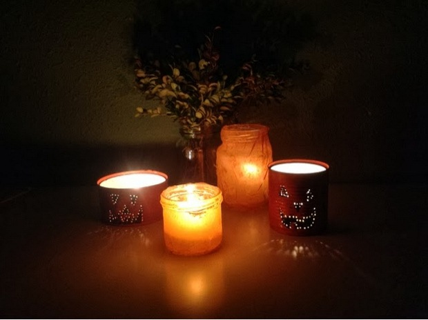 halloween crafts luminaries from old tin cans and jars creepy decoration ideas