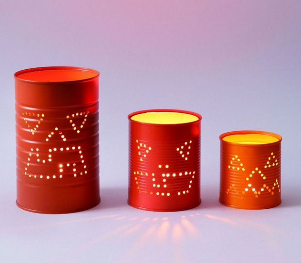 old red tin cans upcycled into halloween luminaries creative decoration ideas