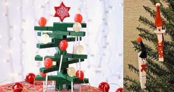 christmas ornaments clothespins green tree star decorative ideas